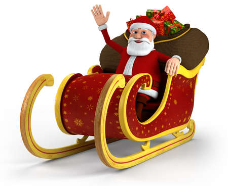 christmas sleigh: Cartoon Santa Claus sitting in his sleigh and waving - on white background - high quality 3d illustration