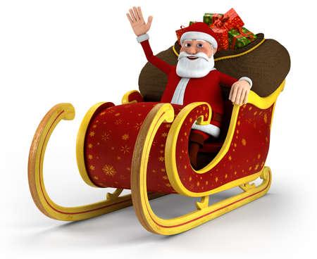 papa noel trineo: Dibujos animados Santa Claus sentado en su trineo y agitando - sobre fondo blanco - ilustraci�n 3d de alta calidad Foto de archivo