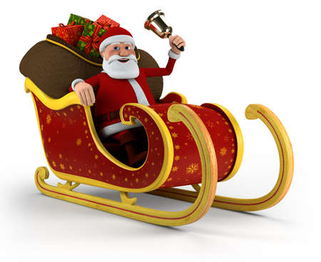 Cartoon Santa Claus with bell sitting in his sleigh - on white background - high quality 3d illustration