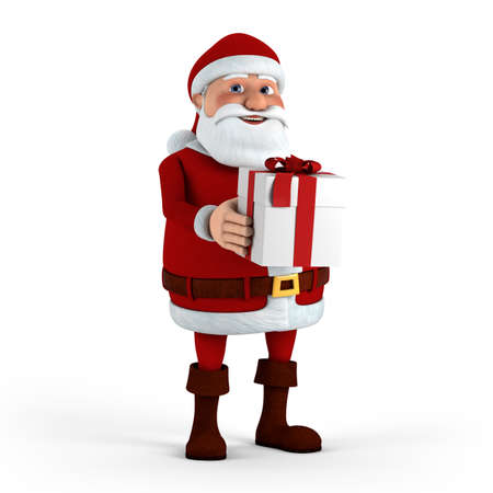 Cartoon Santa Claus holding present - high quality 3d illustration illustration