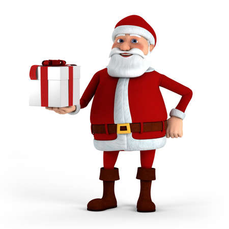 Cartoon Santa Claus offering present - high quality 3d illustration illustration