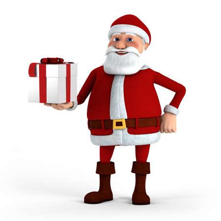 Cartoon Santa Claus offering present - high quality 3d illustration illustration