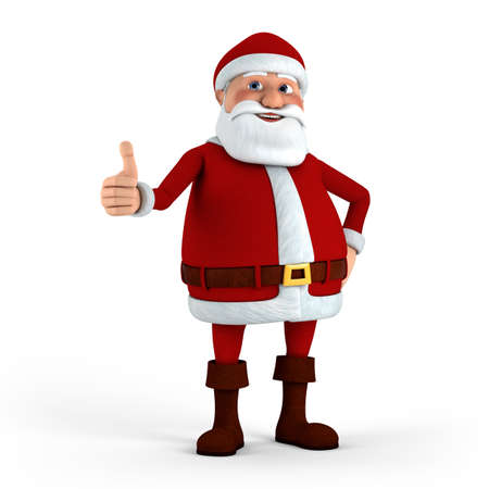 thumbsup: Cartoon Santa Claus giving thumbs-up - high quality 3d illustration