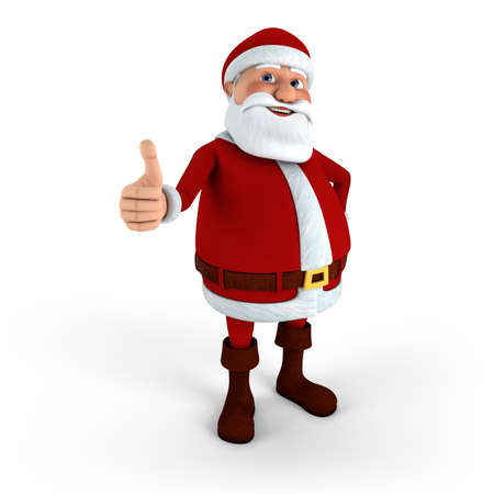 Cartoon Santa Claus giving thumbs-up - high quality 3d illustration