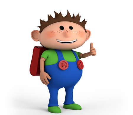 chubby: cute school boy giving thumbs up - high quality 3d illustration Stock Photo