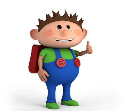 leuke school jongen geven thumbs up - hoge kwaliteit 3d illustratie