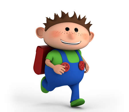 brown haired: cute school boy running - high quality 3d illustration Stock Photo