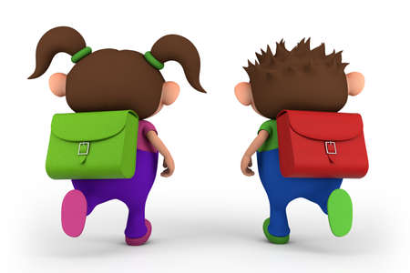 brown haired girl: school kids running -  - high quality 3d illustration