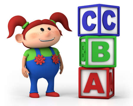 red haired person:  school girl standing next to stack of ABC blocks - high quality 3d illustration Stock Photo