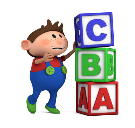 brown haired:  school boy stacking ABC blocks on top of each other - high quality 3d illustration