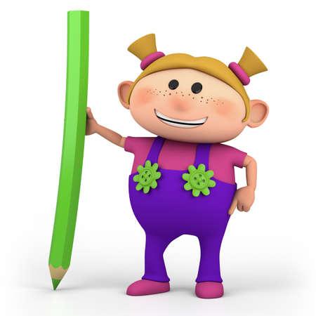 색연필 - 높은 품질의 3d 일러스트와 함께 귀여운 만화 소녀