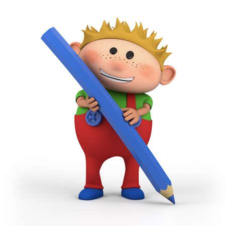 leuke cartoon jongen met kleurpotlood - hoge kwaliteit 3d illustratie Stockfoto