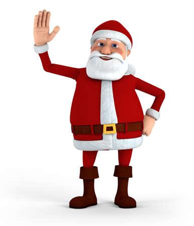 man looking up: Cartoon Santa Claus waving at camera - high quality 3d illustration