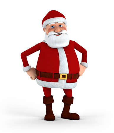 hands on hips: Cartoon Santa Claus standing with hands to his hips - high quality 3d illustration
