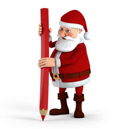 Cartoon Santa Claus writing with big red pencil - high quality 3d illustration illustration
