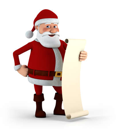 nice guy: Cartoon Santa Claus holding his List - high quality 3d illustration