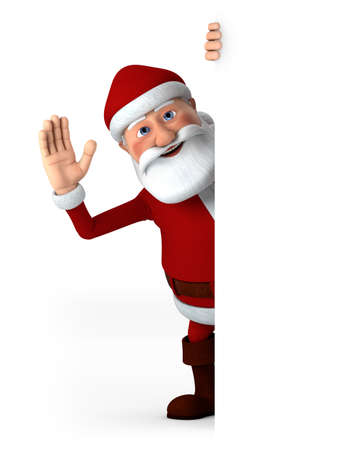 waving: Cartoon Santa Claus waving from behind a blank sign - high quality 3d illustration Stock Photo
