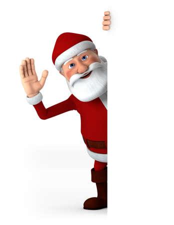 gente saludando: Dibujos animados Santa Claus saludando desde detr�s de un cartel en blanco - ilustraci�n 3d de alta calidad Foto de archivo