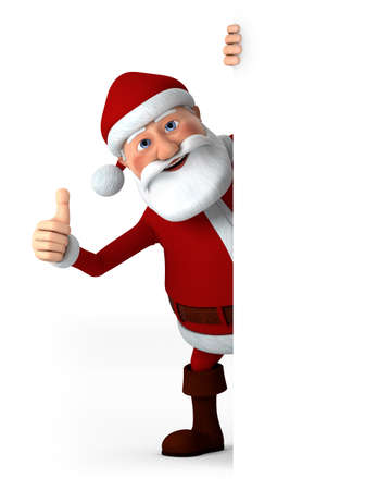 human thumb: Cartoon Santa Claus giving thumbs up from behind a blank sign - high quality 3d illustration Stock Photo