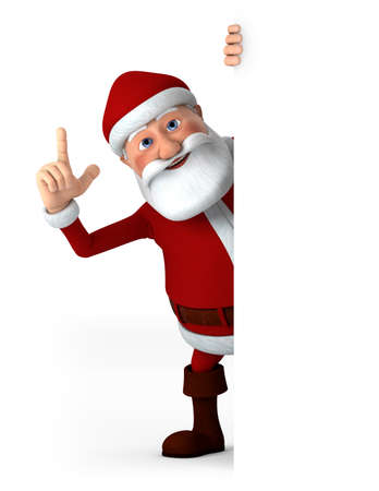 pointing up: Cartoon Santa Claus pointing up from behind a blank sign - high quality 3d illustration