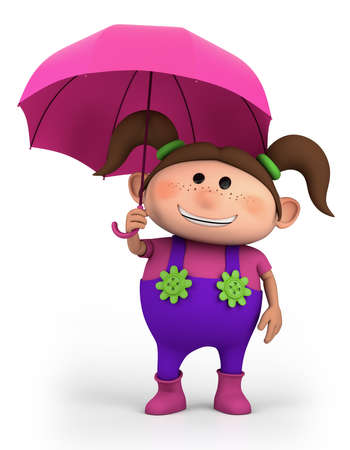 bib overall: cute school girl with umbrella - high quality 3d illustration