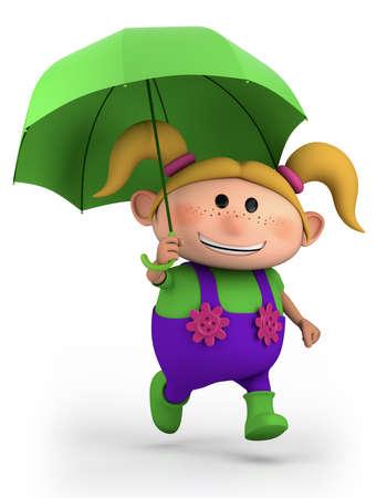 cute school girl with umbrella - high quality 3d illustration illustration