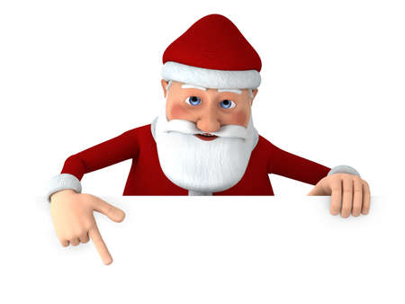 high quality: Cartoon Santa Claus pointing at something from behind a blank sign - high quality 3d illustration Stock Photo