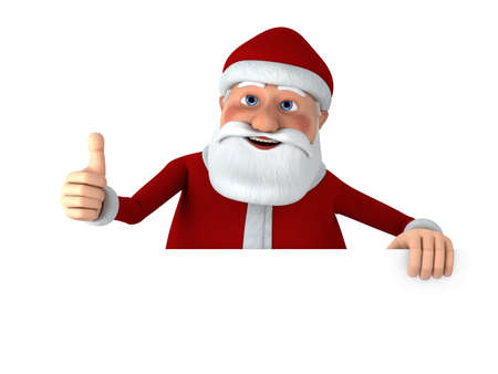Cartoon Santa Claus giving thumbs up from behind a blank sign - high quality 3d illustration illustration