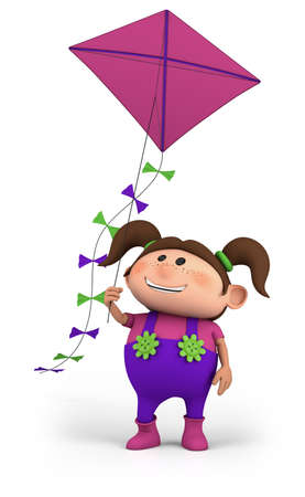 brown haired girl: cute girl flying a kite - high quality 3d illustration