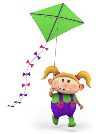 kite flying: cute girl flying a kite - high quality 3d illustration