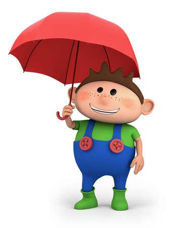boy with umbrella - high quality 3d illustration Stock Illustration - 10999990
