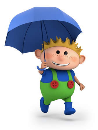 boy with umbrella - high quality 3d illustration
