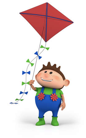 brown haired: cartoon boy flying a kite -  high quality 3d illustration Stock Photo