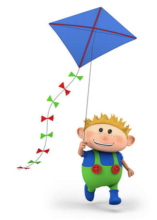 cartoon boy flying a kite -  high quality 3d illustration illustration