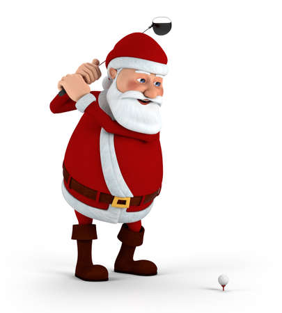 christmas golf: Cartoon Santa Claus plays golf - high quality 3d illustration Stock Photo