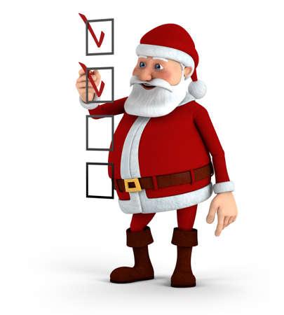 marking: Cartoon Santa Claus marking a checklist - high quality 3d illustration Stock Photo