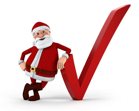 Cartoon Santa Claus with check mark - high quality 3d illustration illustration