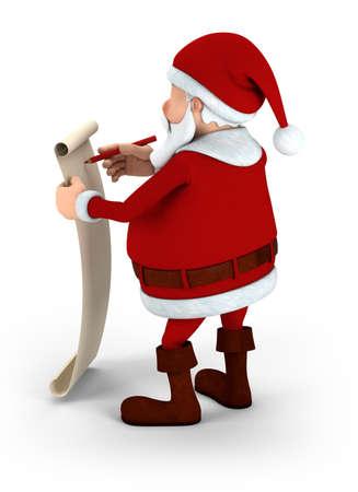Cartoon Santa Claus writing on list - high quality 3d illustration illustration