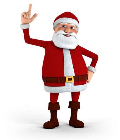 pere noel: Cartoon Santa Claus pointant vers le haut - grande illustration 3d de qualité