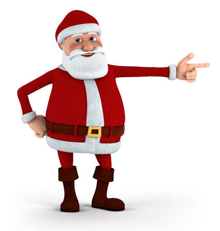 Cartoon Santa Claus pointing at something - high quality 3d illustration illustration