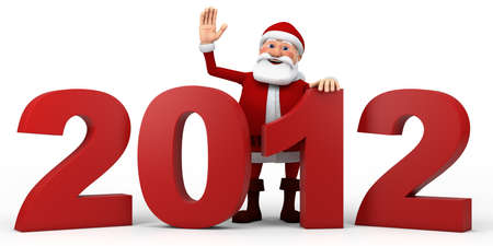 Cartoon Santa Claus waving from  behind 2012 numbers - high quality 3d illustration illustration