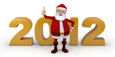 Cartoon Santa Claus giving  thumbs up in front of 2012 numbers - high quality 3d illustration illustration