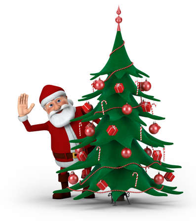 Cartoon Santa Claus waving from behind Christmas Tree- high quality 3d illustration