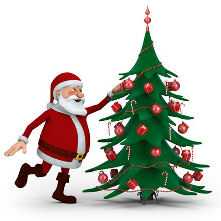 Cartoon Santa Claus decorating Christmas Tree - high quality 3d illustration