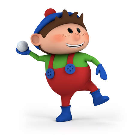 snowball: cute cartoon boy throwing snowball - high quality 3d illustration
