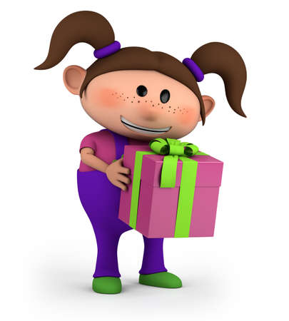 cute cartoon girl with present - high quality 3d illustration illustration