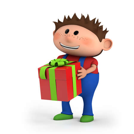 cute cartoon boy with present - high quality 3d illustration illustration