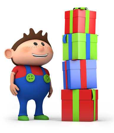 dungarees: cute cartoon boy with pile of presents- high quality 3d illustration