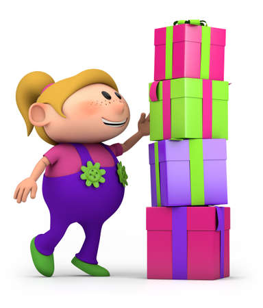 birthday presents: cute cartoon girl stacking presents - high quality 3d illustration