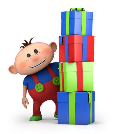 cute cartoon boy behind pile of presents- high quality 3d illustration illustration